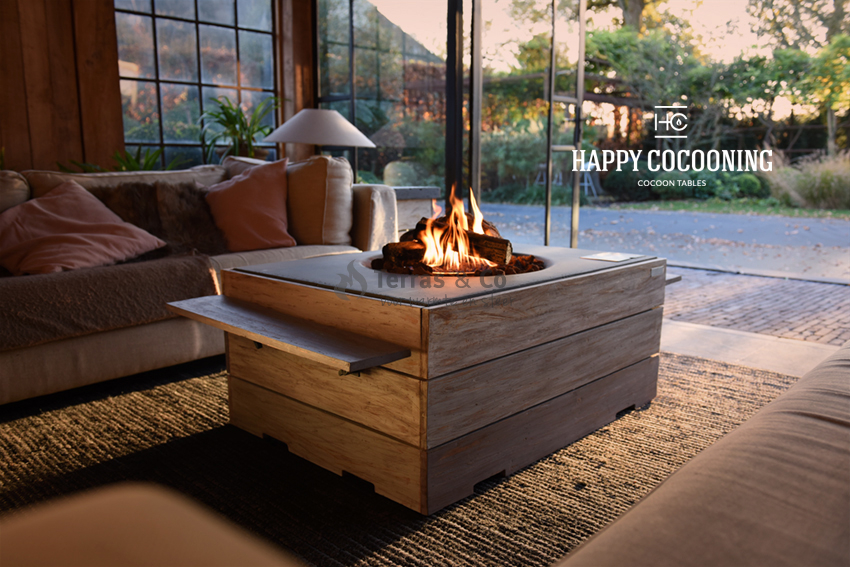 Vuurtafel gemaakt van hout
