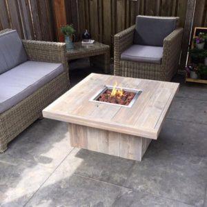 hout, Vuurtafel, Feuertisch , Fire pit table