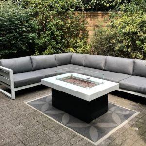 Vuurtafel, Fire Pit Table, Table à Feu, Feuertisch aluminium SKY - rechthoek - wit-zwart